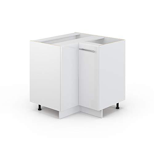 Vicco Küchenschrank Hängeschrank Unterschrank Küchenzeile Hochglanz Fame-Line (Weiß Hochglanz, Eckunterschrank 87 cm)