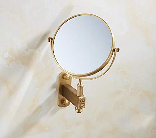 Badkamerspiegel rond volledig koper wandbehang badkamerspiegel vergroting 3-voudig inklapbare hangspiegel