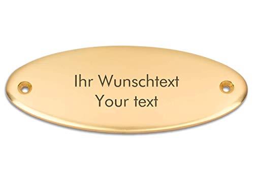 Klingelschild mit persönlicher Gravur, hochwertiges Messingschild, 115 x 45 mm, oval - Türschild, Namensschild, Gravurschild
