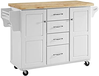 Crosley Furniture Elliot Kitchen Cart with Natural Top, White from Crosley Furniture