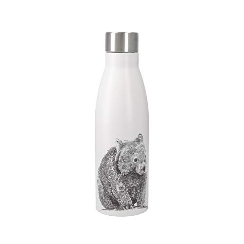 Maxwell & Williams Marini Ferlazzo Isolierte Wasserflasche mit Wombat Design, doppelwandig, Edelstahl, weiß, 500 ml