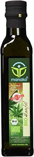 manako BIO Hanföl, kaltgepresst, 100{7562fe83653c036c61ca8447fc1fd0f62927e9937e50b469c26dd906fb6b8a18} rein, 250 ml Glasflasche (1 x 0,25 l)