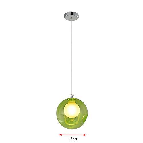 Hanglamp, hanglamp, bol, van gekleurd glas, creatief, met gekleurde glazen bol met vrije gloeilamp
