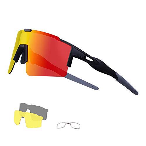 DUDUKING Occhiali Ciclismo Polarizzati con 3 Lenti Intercambiabili Occhiali Bici Antivento e Antiappannamento Occhiali Sportivi da Sole Anti UV da Uomo Donna per Corsa, MTB e Running (Nero Rosso)