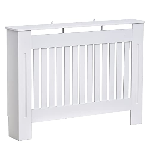 HOMCOM Radiator Cover Painted Slatted Cabinet MDF Lined Grill White (112L x 19W x 81H (cm))