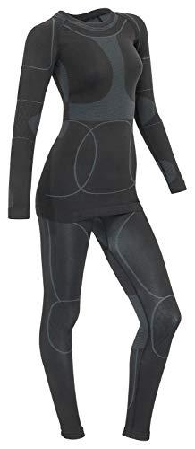 icefeld®: Sport Ski- Thermounterwäsche-Set für Damen Seamless (nahtfrei) in schwarz/grau S