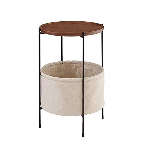 Salontafels Haizh ronde bijzettafel van hout, 2-traps woonkamertafel met hoektafel van stof en ijzeren onderstel