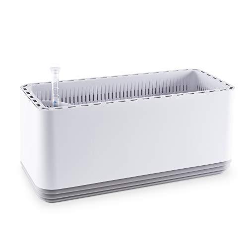 Airy L Luchtreiniger voor binnenshuis, natuurlijke luchtbevochtiger en luchtreiniger voor gezonde lucht in de woning, gepatenteerd plantensysteem tegen allergie en luchtvervuiling 27 x 50 x 22 cm wit/lichtgrijs
