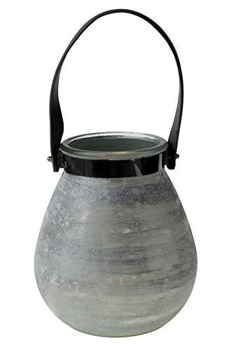 Werner Voss Windlicht Frozen weiß/Silber Glas 22 cm hoch mit grauem Lederhenkel