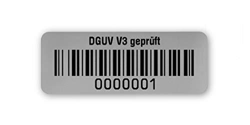 Prüfetiketten DGUV V3 geprüft, 40x15mm, silberoptik matt, fertig bedruckt mit 7-stelligem fortlaufendem Barcode 128B für alle gängigen Prüfgeräte. Nummernkreis 0000 001.0001 000