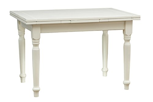 Biscottini Table à rallonge Style champêtre en Tilleul Massif, Finition Blanche Antique L120xPR80xH80 cm