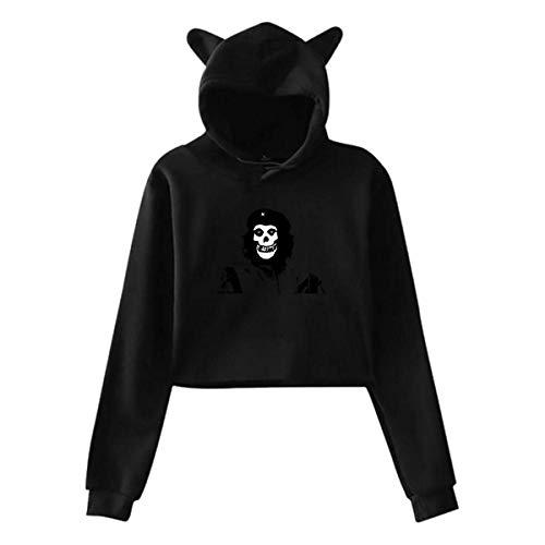 naotaori Schwarze, vibrierende Katzenohren-Kapuzenpullis passen Nicht zu den Nabel-Cro-Top-Pullover-Damen-Kapuzenpullis