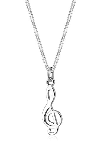 Elli Women 925 Sterling Silver Xilion Cut Clef Pendant Necklace Length of 45 cm