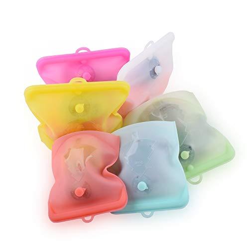 ALXDR Bolsas Reutilizables De Silicona Alimento Fijados 10Packs Libre De BPA Bolsas Zip-Lock - A Prueba De Fugas Y Estanco para El Lavaplatos, Microondas, Horno Y Congelador,1000ml 10pcs