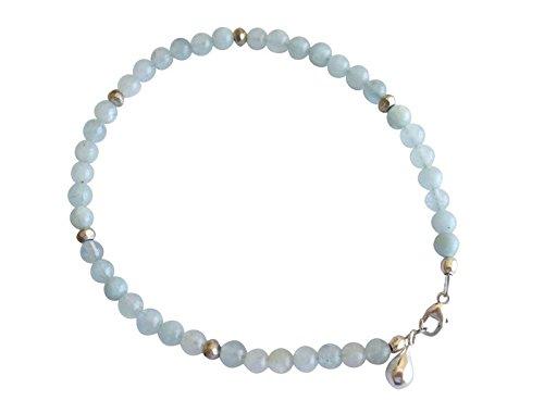 Aquamarin Armreifen Aquamarin Armband 925 Silber Pyrit Edelsteinarmband
