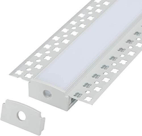 Paquete de 16 piezas de perfil de aluminio LED de yeso de 1 m con brida para tira LED, canal de aluminio de paneles de yeso con difusor de clip y tapas de extremo
