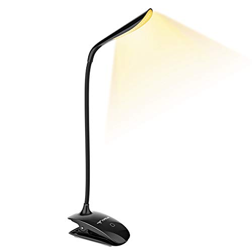 LED Klemmleuchte, TOPELEK LED Leselampe Buch mit Berührungssensor, Stufenlose Helligkeit, 3 Stufen Farbtemperatur, Schreibtischlampe, Buchlampe, USB aufladbare Klemmlampe zum Studieren und Arbeiten.
