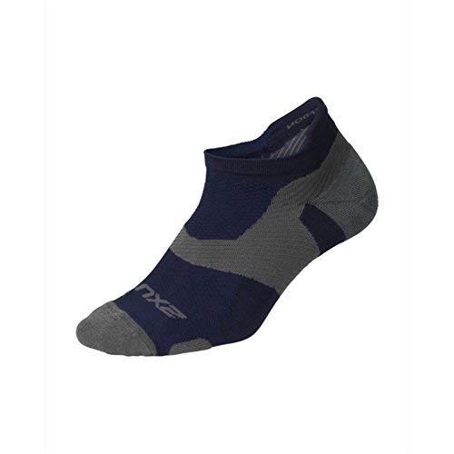 2XU Unisex Vectr Merino Light NoShow Socke, Navy / Titanium, X-Large