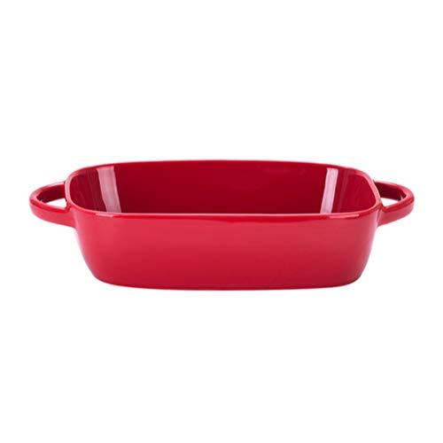 Cabilock Rote Kleine Keramik Rechteckige Auflaufform Auflaufformen mit Griff für Ofen Keramik Backform Lasagne Auflaufform Individuelles Backgeschirr
