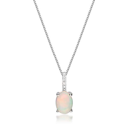 Gin & Grace 14K White Gold Natural Diamond(I1) Pendant Necklace with Natural Ethiopian Opal Daily Work Wear Jewelry for Women Gifts for Her