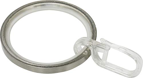 GARDINIA Gardinenringe für Gardinenstangen Ø 25 mm, Inklusive Gleiteinlage und Faltenlegehaken, 10 Stück, Breite 4 mm, Metall, Edelstahl-Optik