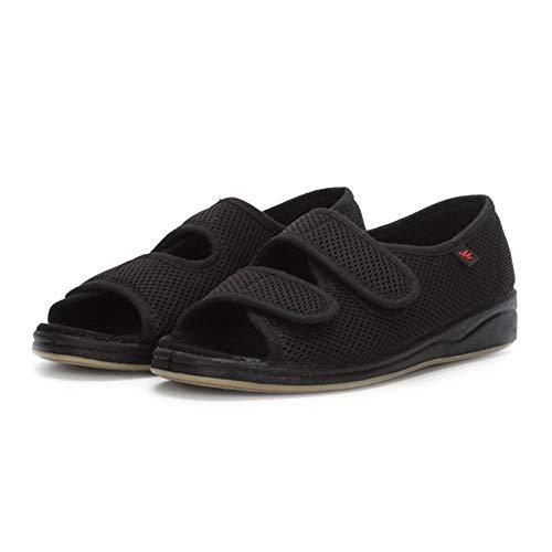 Slipper met Easy Wrap Around Touch Fasten, verbrede en vetgemeste zomer ademende sandalen, verstelbare dikke en gezwollen postoperatieve schoenen-black_37 yards, Extra brede pasvorm Diabetische ortho