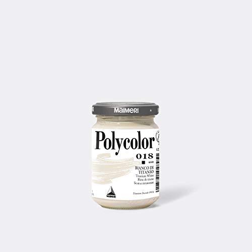 Maimeri POLYCOLOR M1220018 - Colore vinilico fine, 140 ml, colore: Bianco titanio