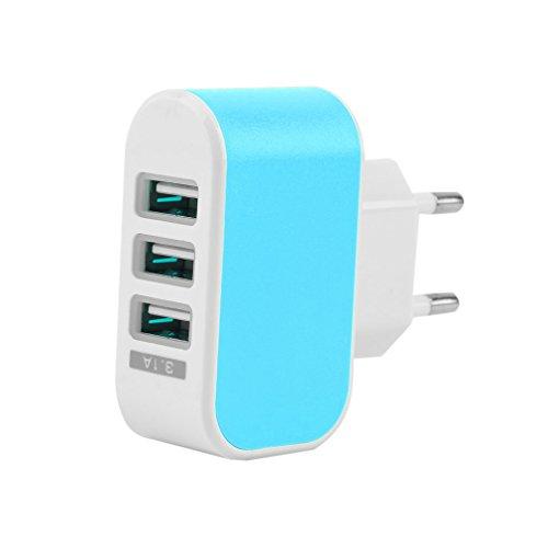 Adaptador de Cargador de alimentación de CA de Viaje en casa de Pared con Puerto USB Triple 3.1A Enchufe de la UE Azul