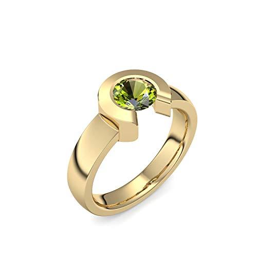 Gold Ring Peridot hochwertig vergoldet! + inkl. Luxusetui + Peridot Ring Gelbgold vergoldet Peridotring Gelbgold vergoldet Vergoldeter Ring (Gelbgold vergoldet) -...