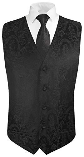 Paul Malone Hochzeitsweste + Krawatte schwarz Paisley - Bräutigam Hochzeit Herren Weste Gr. 50 S