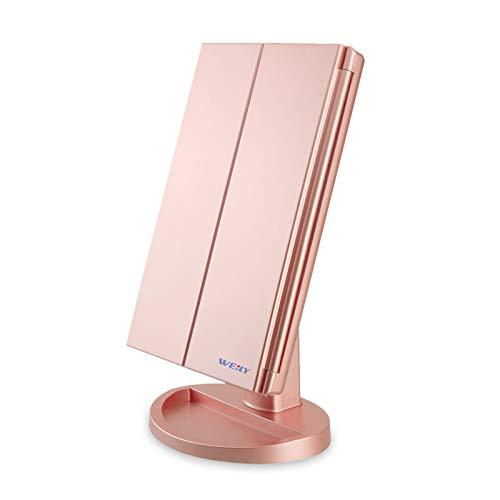 WEILY Espejo Maquillaje, Espejo Cosmético,Luz Ajustable con LED, con la ampliación 1X/2X/3X, Rotación Ajustable de 180 °, Fuente de alimentación Doble, Espejo cosmético encimera (Oro Rosa)