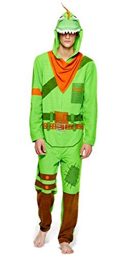 Epic Games Fortnite Mens Rex Onesie Costume Pajama, Adult Men Size XL Green/Orange