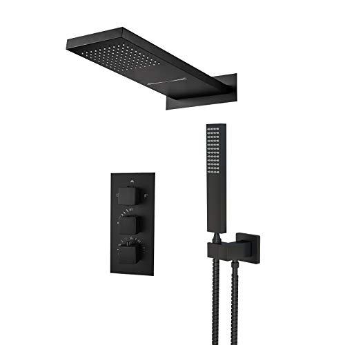 JUNSOTTOR Sistema de ducha termostático, color negro, grifo de ducha de lluvia, set de ducha con alcachofa de mano de latón para bañeras