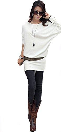 Mississhop 95-31 Damen Minikleid festlich Glitzer Kleid Pulli Tunika Creme S