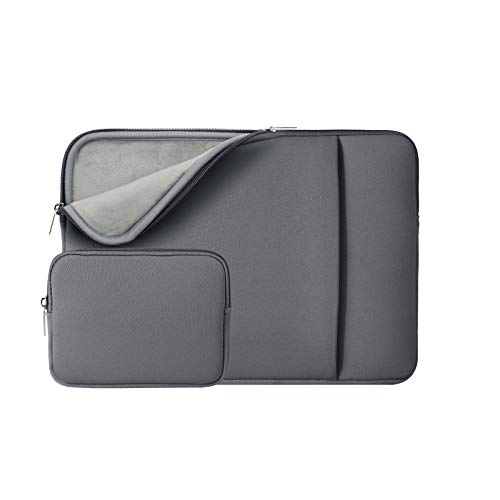 RAINYEAR 14 Inch Laptop Sleeve Protective Case Soft Fluffy Lining Cover Carrying Bag with Front Pocket & Accessories Pouch,Compatible with 14' Notebook Computer Chromebook(Gray,Upgraded Version)