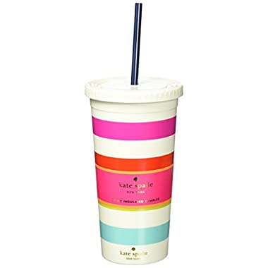 Kate Spade New York Tumbler with Straw, Candy Stripe, Multi