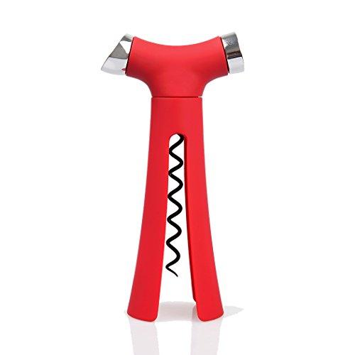 RC 4 in 1 Wine Bottle Foil Cutter & Corkscrew Opener & Pour Spout & Stopper Set - Red …