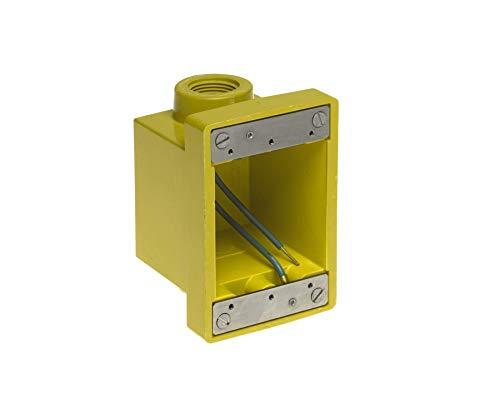 "Woodhead 453CR Watertite FD Box, 2 Knockout Openings, Yellow, 3/4"" Thread Diameter"