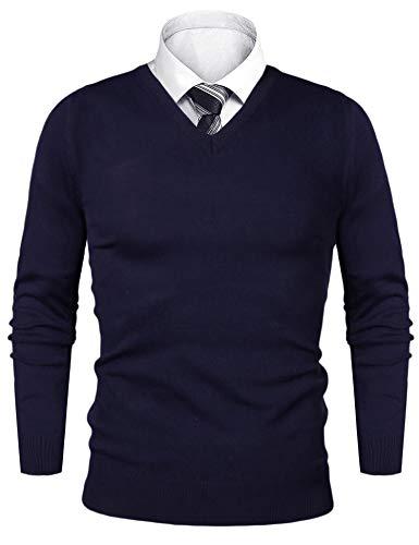 iClosam Pullover Herren V-Ausschnitt Langarm Baumwolle Sweater (Dunkelblau1, L)