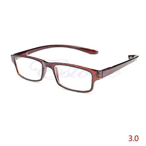 Hoxin Elegante helle Lesebrille, Bequeme presbyopische Brille klar +1.00 ~ +4.00 (transparenter Kaffee, 3.0)