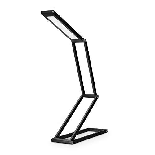 kwmobile LED Aluminium Tischlampe faltbar - Akku Nachttisch Leselampe dimmbar Micro USB Ladekabel - Akku Schreibtischlampe Faltlampe in Schwarz