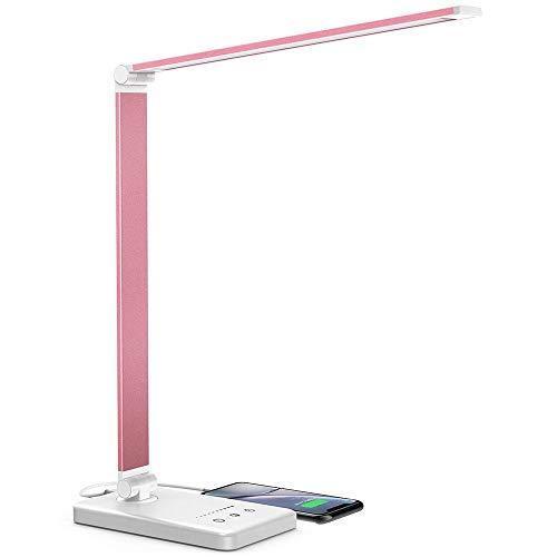 Schreibtischlampe, LED Schreibtischlampe Dimmbar, 5 Farb und 10 Helligkeitsstufen, Touch-Bedienung, Faltbar, mit USB-Anschluss und Augenschutz Tischleuchte für Büro und Haus (Rose)