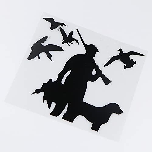 XLYDF 17x15.2cm Cazadores y Perros Pegatina de Coche Vinilo decoración Creativa Divertida decoración (Color : Black)