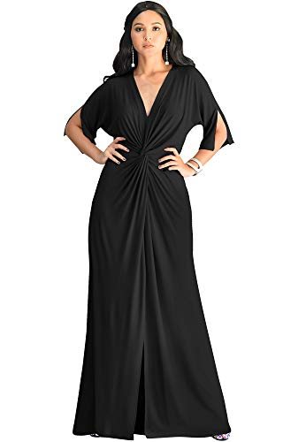 KOH KOH Womens Long Short Sleeve V-Neck Sexy Slimming Casual Summer Maxi Dress