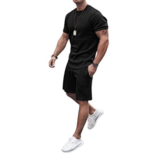 Chándal deportivo casual de 2 piezas para hombre, de manga corta, camiseta y pantalones cortos con cordón ajustable