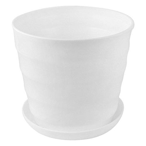 sourcingmap Maison Bureau Balcon Plante ronde plastique porte Semoir Pot Fleurs blanc 19cm diamètre