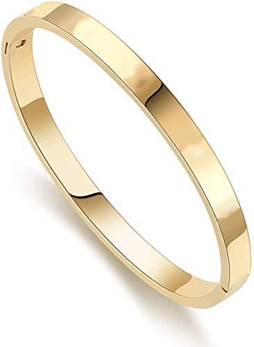 Classic Fashion Titanium Steel Bracelet for Women Cuff Bracelets Couples Bracelets (GOLD, 6.7)