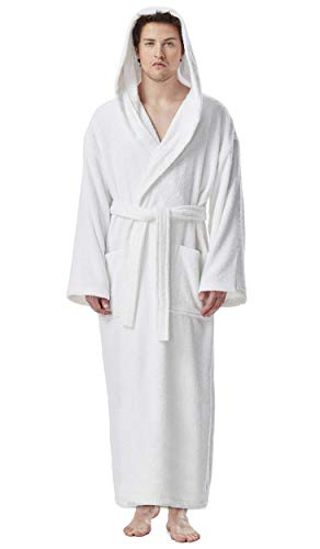 Arus Men's Hooded Classic Bathrobe Turkish Cotton Robe with Full Length Options (L-XL,White)
