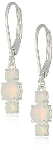 Sterling Silver Created Opal 5mm and 3mm Three Stone October Birthstone Leverback Dangle Earrings
