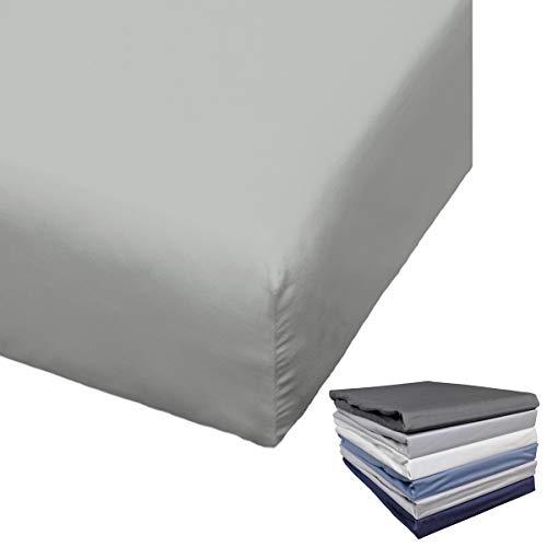 Bierbaum Spannbettlaken Mako Satin 90-100x200 / 140-150x200 / 180-200x200 cm Weiß Anthrazit Silber Grau Blau Sand, Farbe:Silber, Größe:100x200cm Spannbettlaken